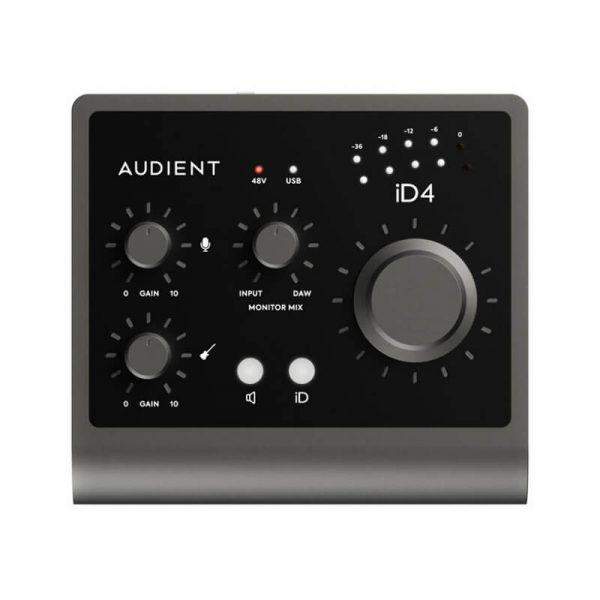 کارت صدا Audient iD4 Mk2 یک محصول کاملا حرفه ای و قدرتمند میباشد که دارای پری آمپ Class A بوده و خرید آن به شما پیشنهاد میشود ... | خرید کارت صدا آدینت Audient iD4 Mk2 | خرید کارت صدا آدینت | فروشگاه اینترنتی کالا استودیو
